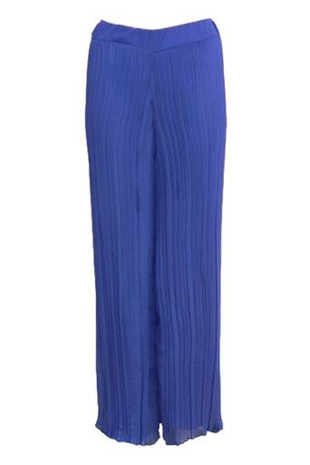 Mabel Chiffon Pleated Wide Trouser Pant in Royal Blue - Pop Couture