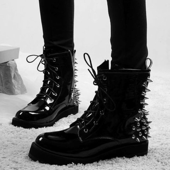 shoes black spiked shoes boots little black boots boots spiked black, studded, boots, timberland, gold goth