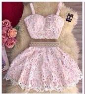 dress,pink,lace,gorgeous,light pink,girly,short,short dress,skirt,lace skirt,pink dress,lace dress,two piece dress set,crop tops