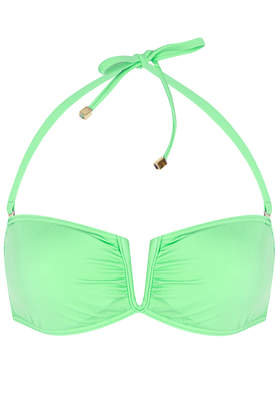 Apple Green Basic V Bandeau Bikini Top - Swimwear  - Clothing  - Topshop USA