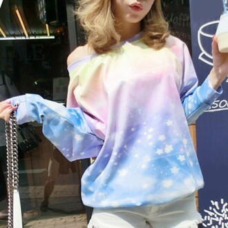 sweater rose wholesale stars scoop neck galaxy print printed sweater pastel pastel sweater