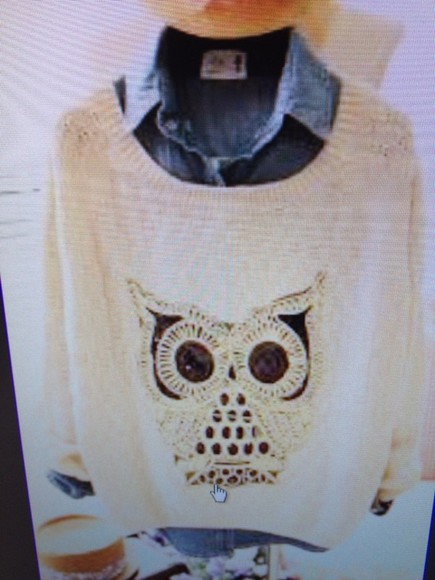 owl sweater jeans jacket owl sweater sweatshirt