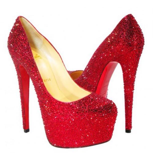 shoes red diamantè louboutin