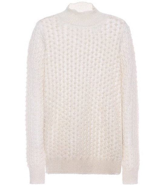 Jil Sander Mohair and silk sweater in white