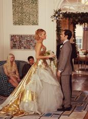 dress,gold,white,trendy,wedding,amazing