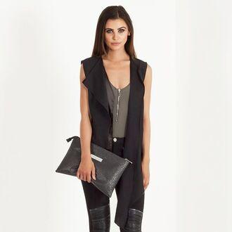 jacket maniere de voir waistcoat gilet black drape front
