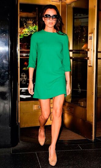 dress victoria beckham style shift dress emerald green posh