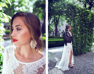 kenza blogger white dress long dress slit dress earrings leather jacket