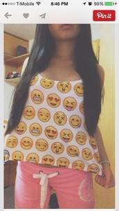 shirt,emoji shirt,smiley,cute shirt,unique top,emoji print,pants,top