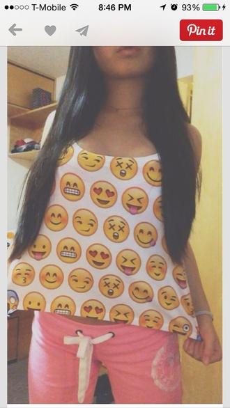 shirt emoji shirt smiley smiley face cute shirt unique top emoji print pants emoji top