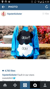 the fault in our stars,tfios blue okay? okay.,sweatshirt,hoodie