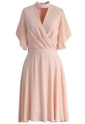 dress,pink,chiffon dress,wrap,brezzy