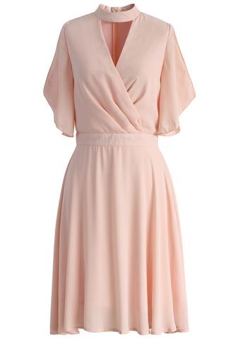 dress pink chiffon dress wrap brezzy