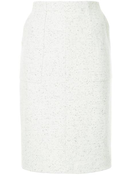 Estnation - midi straight skirt - women - Silk/Nylon/Wool - 36, Grey, Silk/Nylon/Wool