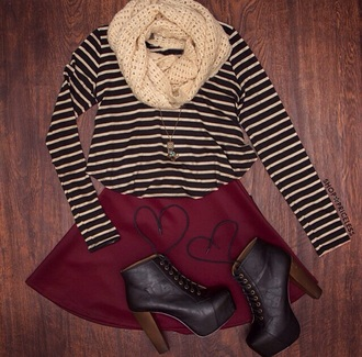 skirt sweater stripes wine color scarf shoes style lita platform high waisted skirt fall outfits outfit shirt