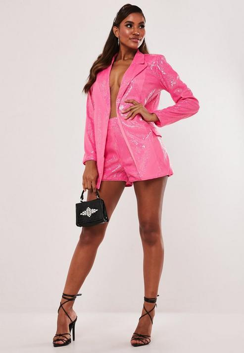 Pink Co Ord Sequin Tailored Shorts