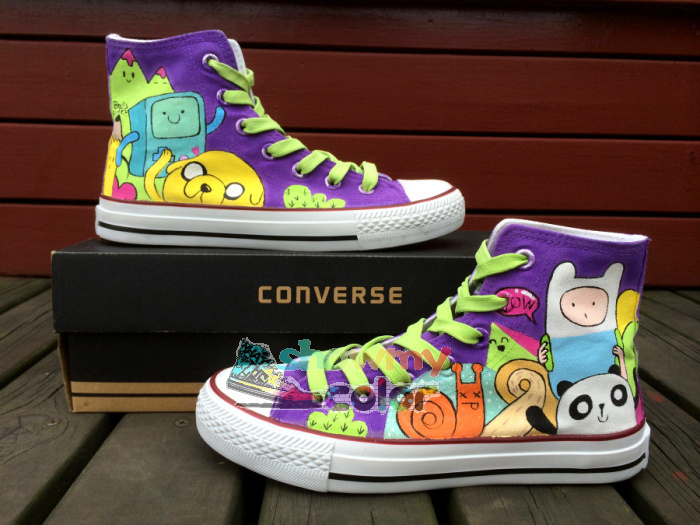 Adventure Time High Top Converse Shoes Men Womens Canvas Shoes Hand Painted Custom Sneaker-in Women's Fashion Sneakers from Shoes on Aliexpress.com