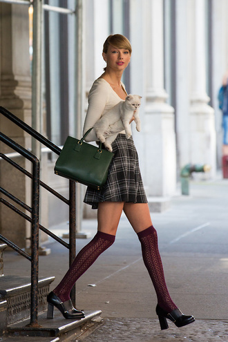 top skirt taylor swift fall outfits socks knee high socks shoes