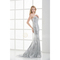 Silver satin sequin beading chapel train sweetheart column trumpet mermaid evening dress_$159.99