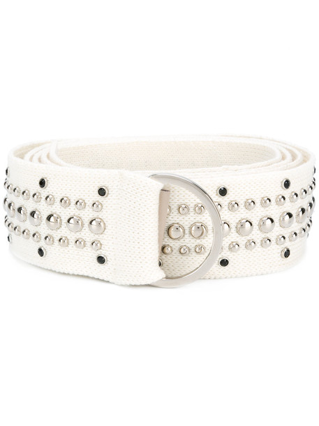 studded fit belt white