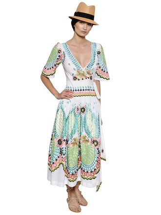 dress wrap dress embroidered cotton