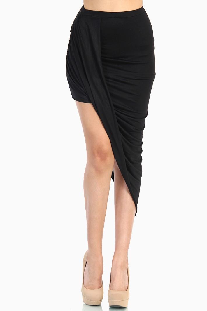 Overlapped draped skirt