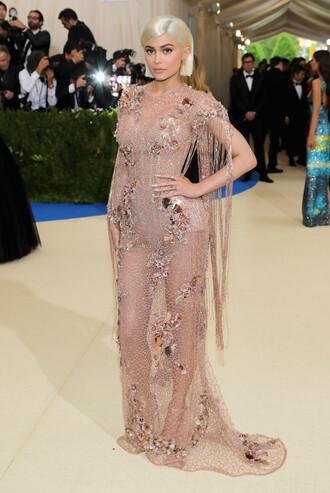 dress nude nude dress kylie jenner kardashians met gala met gala 2017 lace dress gown prom dress see through dress mesh