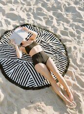 swimwear,tumblr,black bikini,swimwear two piece,black swimwear,bikini,bikini top,bikini bottoms,high waisted bikini,Round Beach Towel,beach towel