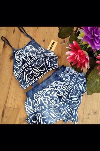 jumpsuit blue elephant print crop tops shorts