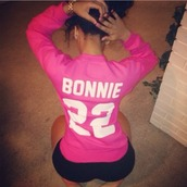 shirt,bonnie,bonnie and clyde,jersey,quote on it,pink,long sleeves,women,pibk color,colorful,long sleeve shirt,pink shirt,pink jersey,t-shirt,sweater