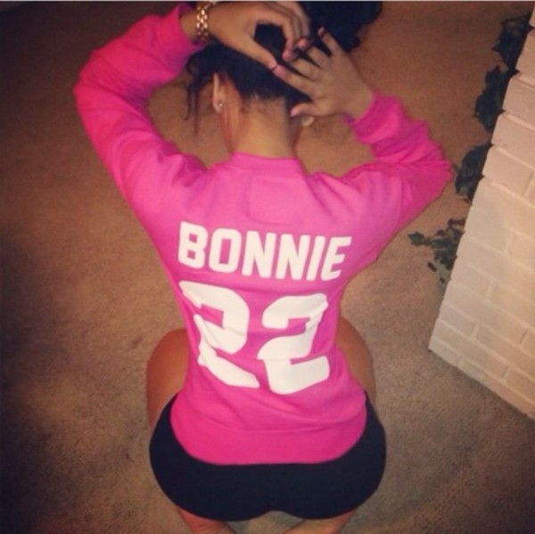shirt bonnie bonnie and clyde jersey quote on it pink long sleeves women pibk color colorful long sleeve shirt pink shirt pink jersey t-shirt sweater