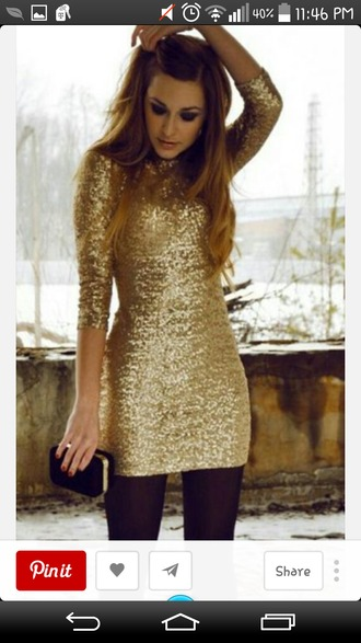 gold sequins gold dress gold dresses longsleeve longsleved dress handbag