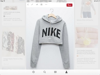blouse cropped sweater grey sweater nike sweater pinterest sweater nike dress crop hoodie grey fashion clothes top fitness jacket nkecrop