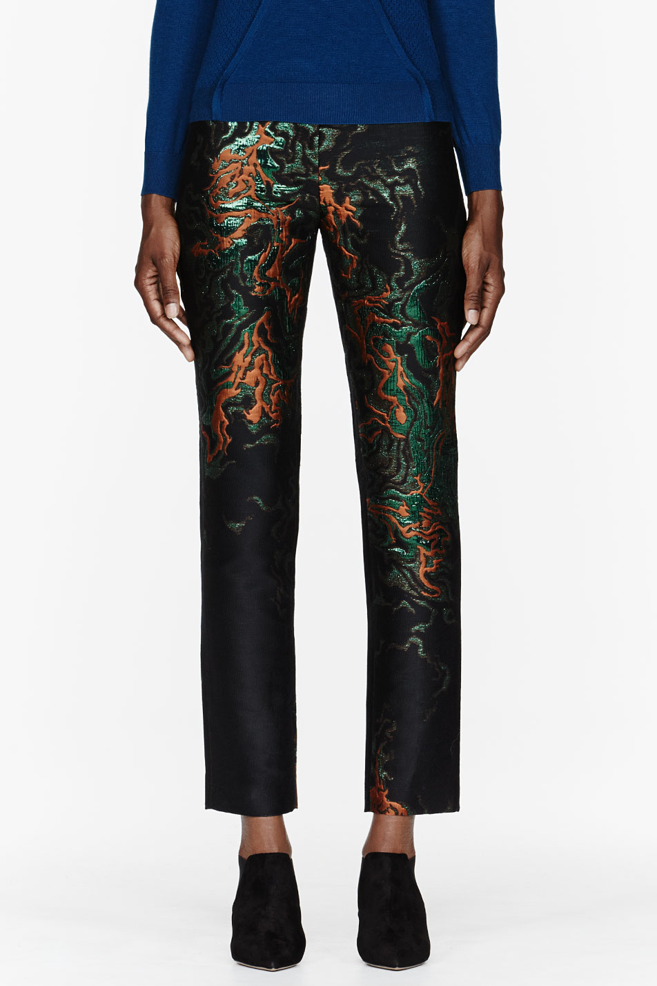 cdric charlier black and metallic embroidered pants