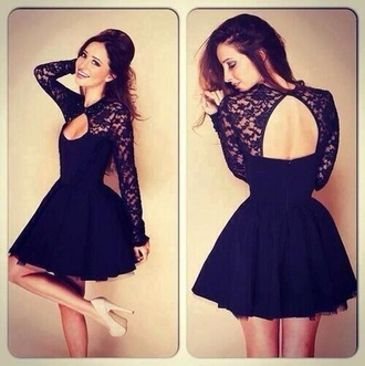 dress lace dress black dress nude pumps long sleeve dress