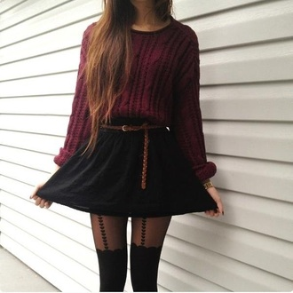 sweater burgundy cute clothes must skirt