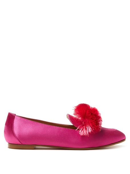 Aquazzura loafers satin pink shoes