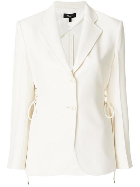 theory blazer women spandex lace white jacket