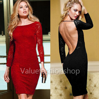 dress black dress lace dress open back open backed dress backless red dress long sleeves candice swanepoel