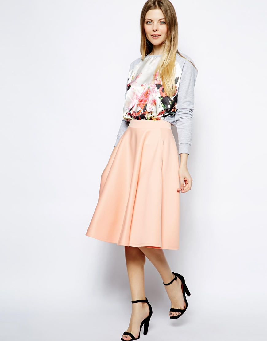 ASOS Full Midi Skirt In Scuba With Pockets at asos.com