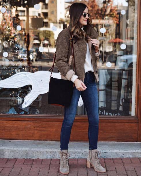 jacket tumblr fuzzy jacket army green jacket denim jeans blue jeans boots grey boots ankle boots bag black bag