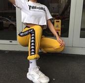 pants,yellow pant,side,brand,tumblr,yellow,tumblr outfit,kappa