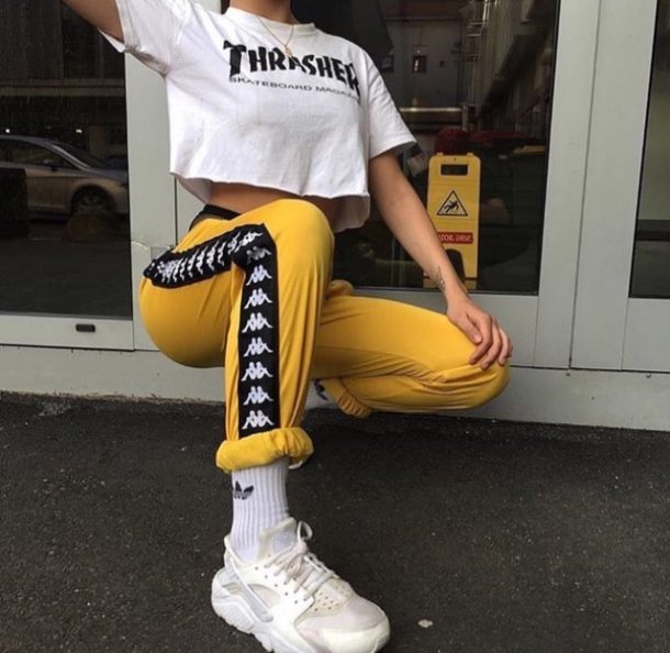 pants yellow pant side brand tumblr yellow tumblr outfit