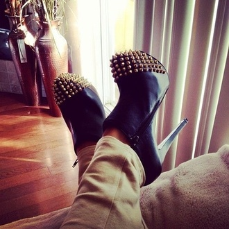 shoes black gold ankle boots spiked shoes studded shoes studded boots gold studs high heels cute high heels black high heels