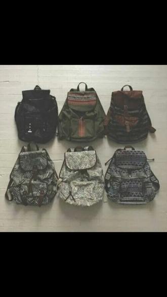 bag backpack ethnic print ethnic kaki black backpack fashion