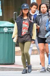 jacket,leggings,christina milian,top,streetstyle,casual