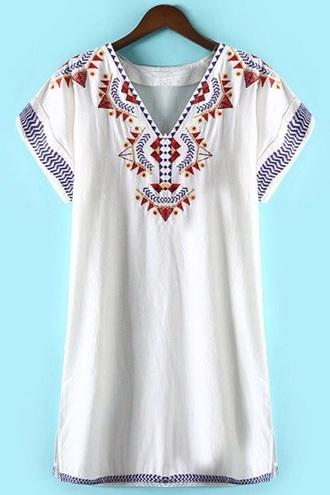 top white dress boho holiday season embroidered beautiful blue beach