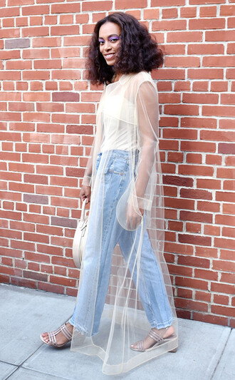 dress celebrity style celebrity blue jeans denim jeans mesh dress see through dress see through white dress maxi dress white top sandals mid heel sandals silver sandals solange knowles straight jeans curly hair