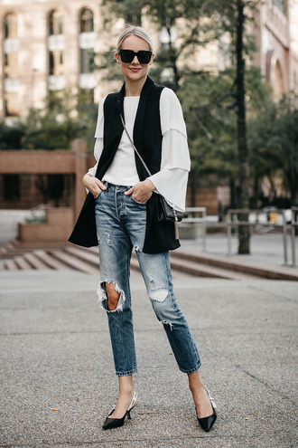 fashionjackson blogger top jacket bag shoes sunglasses fall outfits crossbody bag vest white blouse slingbacks tumblr black vest denim jeans blue jeans ripped jeans blouse