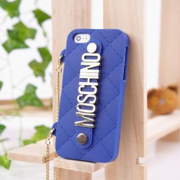 MOSCHINO Fashion Silicone Soft Case Cover For Apple iPhone 5G With Chain Holder (Blue) on Wanelo